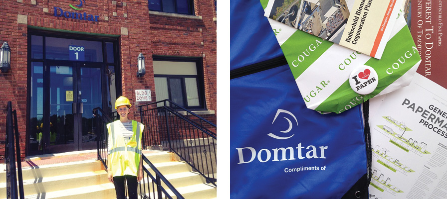 Graphic designer Jessica visits Domtar Mill to learn about paper in a Designer's Journey in Paper Part 2