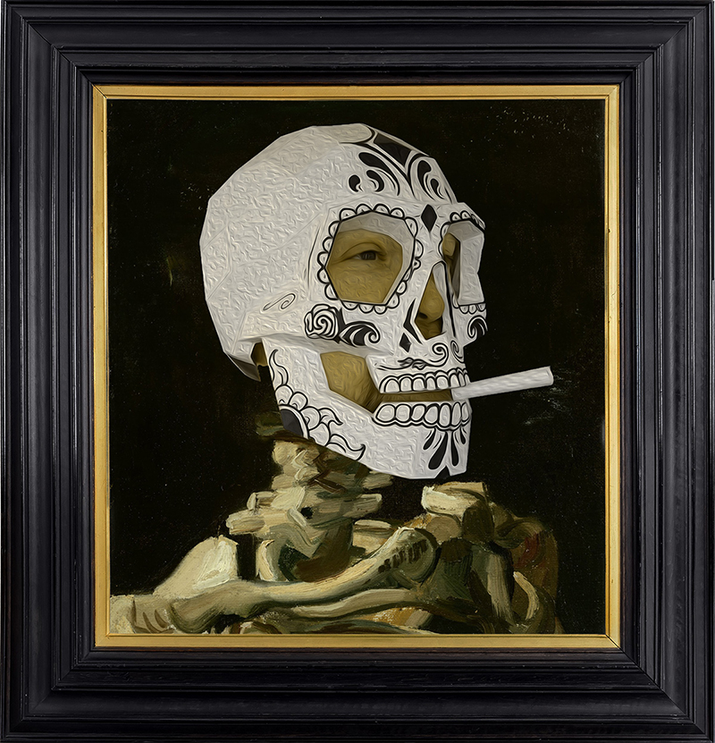 John as Skull of a Skeleton with Burning Cigarette