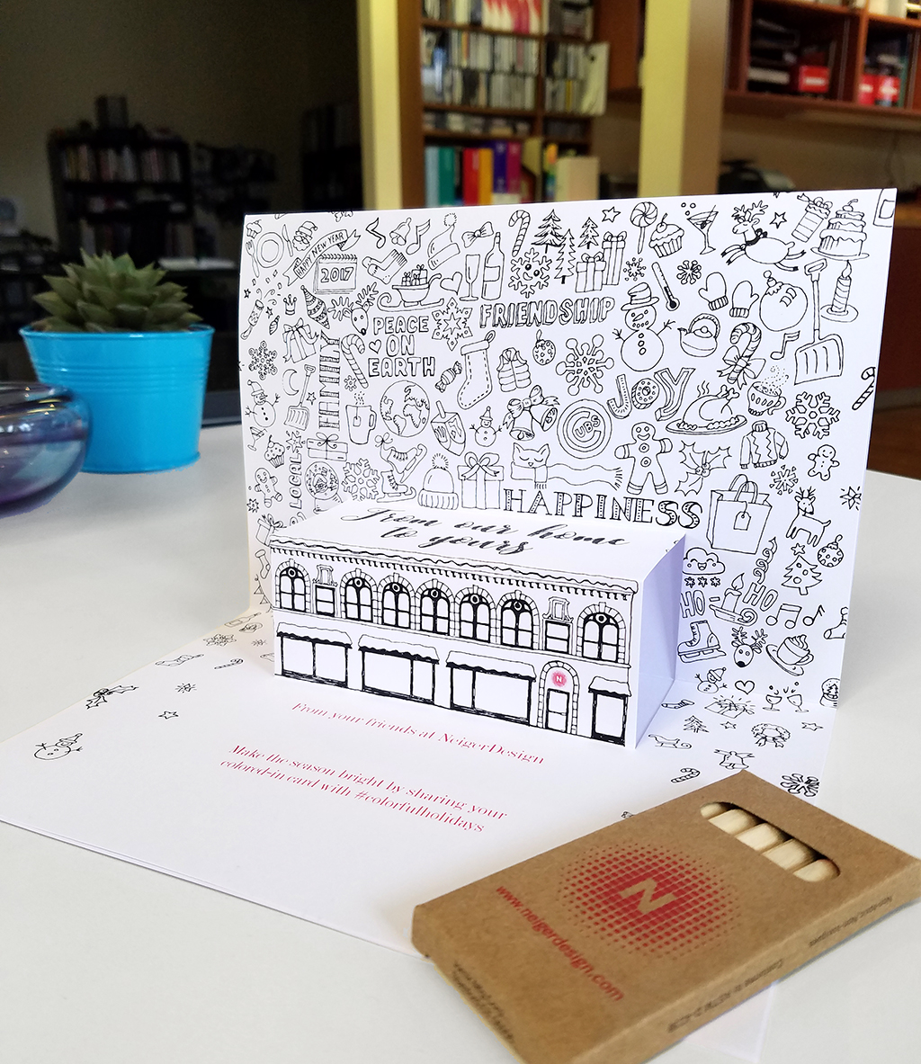 NeigerDesign 2016 Holiday Card Coloring Pop-up