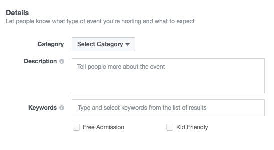 How to Select Event Details for Facebook Events