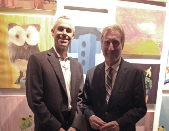 NeigerDesign partner and friend Andrew Dembitz (right) and friend attend Marwen's Exhibition Opening, July 11th.
